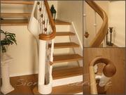 Деревянные изогнутые поручни,  радиусные ограждения для лестницы - foto 0