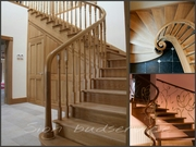 Деревянные изогнутые поручни,  радиусные ограждения для лестницы - foto 1