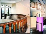 Деревянные изогнутые поручни,  радиусные ограждения для лестницы - foto 2