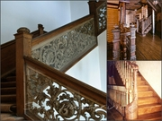 Деревянные изогнутые поручни,  радиусные ограждения для лестницы - foto 3