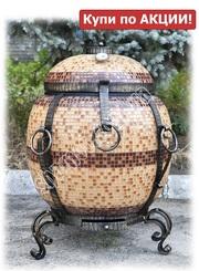 Печь тандыр для дома и дачи - Бочка Утепленная в мозаике,  80 л.